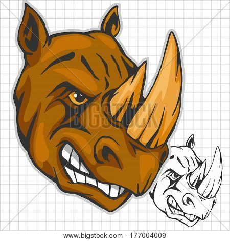Rhino head isolated on white - athletic design complete with rhinoceros mascot vector illustration
