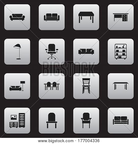 Set Of 16 Editable Home Icons. Includes Symbols Such As Sofa, Stillage, Trestle And More. Can Be Used For Web, Mobile, UI And Infographic Design.