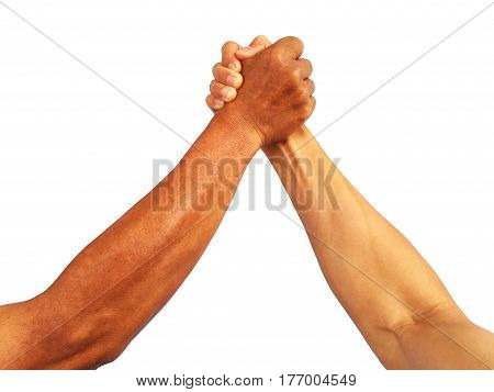 show hand gesture strong arm-wrestle of man