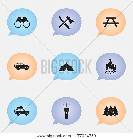 Set Of 9 Editable Camping Icons. Includes Symbols Such As Field Glasses, Pine, Lantern And More. Can Be Used For Web, Mobile, UI And Infographic Design.