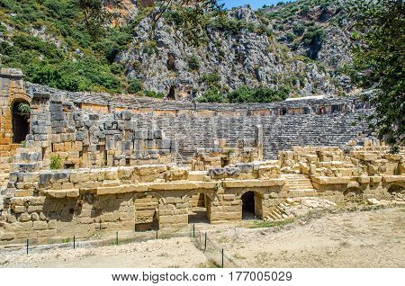 The ruins of the ancient Greco-Roman theater, Myrrh, carved from stone.
