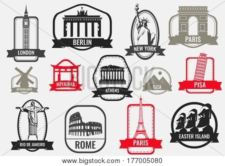 Famous monuments and landmarks collection labels. Travel and Tourism concept. Outline icons. Vector illustration