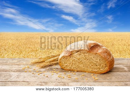 Cut rye bread on wooden table with golden field on the background. Fresh baked traditional bread on nature background. Ripe cereal field, blue sky with beautiful clouds