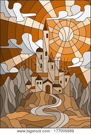 Illustration in stained glass style landscape with old castle on the background of sky sun and mountainsbrown tone Sepia