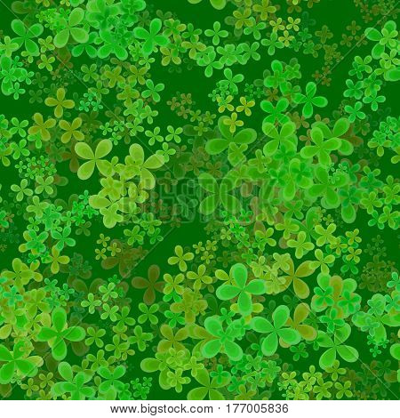 Abstract leafy spring pattern, Green leaves on dark background, Cloverleaf texture, Seamless four leaf clover illustration
