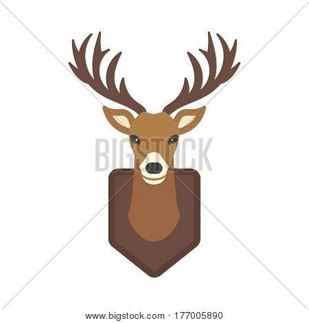 Deer head wild silhouette mammal reindeer wildlife antler graphic and design horned stag drawing sign trophy emblem hunt male vector illustration. Brown hunting animal symbol.