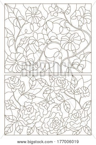 Set contour illustrations in the stained glass style roses and flowers of bindweed dark outline on a white background