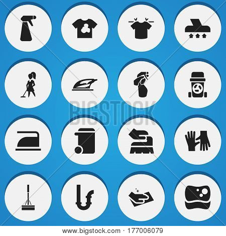 Set Of 16 Editable Cleanup Icons. Includes Symbols Such As Tidy, Towel, Gauntlet And More. Can Be Used For Web, Mobile, UI And Infographic Design.
