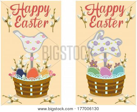 Vector Greeting Easter card with inscription, branches of willow, figurines and eggs in a basket. Spring holidays.