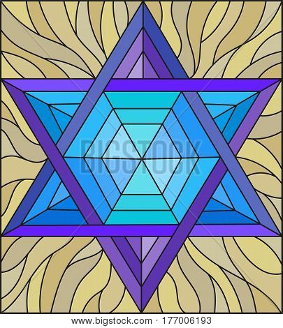 Illustration in stained glass style with an abstract six-pointed blue star on a brown background