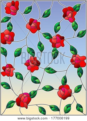 Illustration in the style of stained glass with intertwined roses and leaves on a sky background