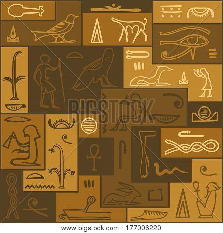 Egyptian hieroglyphics. Symbol ancient, culture, old writing Vector illustration