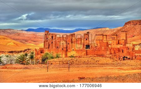 Kasbah Tamdaght, an ancient fortress in Morocco near Ait Benhaddou.