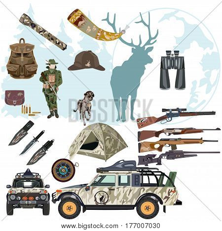 Vector set of hunting deer concept design elements isolated on white background flat style.
