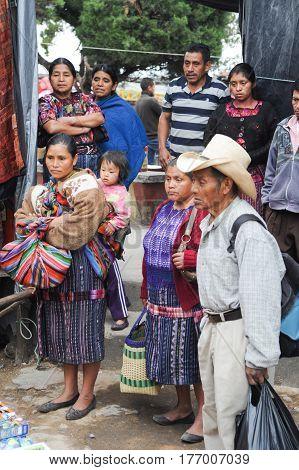 Chichicastenango, Guatemala - 4 February 2014: Indios maya at the market of Chichicastenango on Guatemala