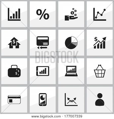 Set Of 16 Editable Logical Icons. Includes Symbols Such As Bar Chart, Circle Diagram, Graph Information And More. Can Be Used For Web, Mobile, UI And Infographic Design.