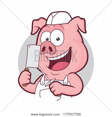 Clipart picture of a pig butcher cartoon character in round frame