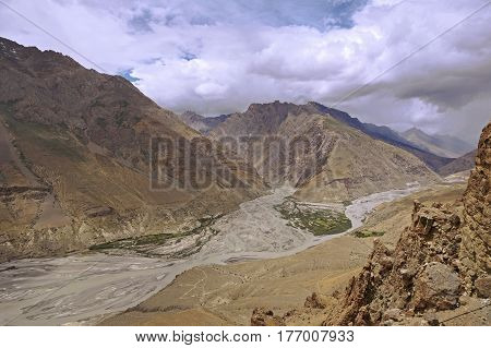 The Spiti and Pin Rivers Merging in the High-Altitude Mountain Desert of the Spiti Valley in the Himalayas, Northern India.