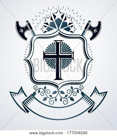 Old style heraldry heraldic emblem vector illustration.