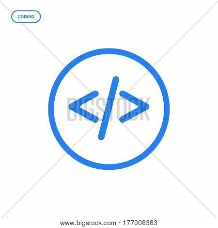Vector illustration of flat Line screen icon. Graphic design concept of web coding. Use in Web Project and Applications. Blue outline isolated object.