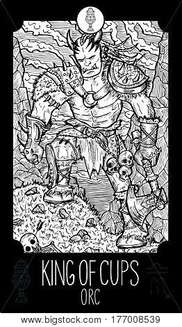 King of cups. Orc. Minor Arcana Tarot card. Fantasy line art illustration. Engraved vector drawing. See all collection in my portfolio set.