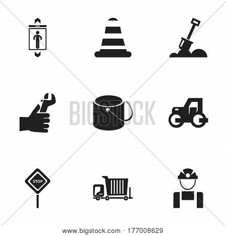 Set Of 9 Editable Structure Icons. Includes Symbols Such As Employee, Caution, Warning Cone And More. Can Be Used For Web, Mobile, UI And Infographic Design.