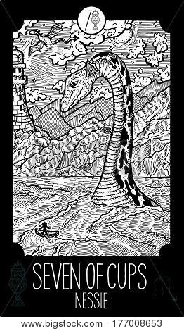 Seven of cups. Loch Ness monster. Minor Arcana Tarot card. Fantasy line art illustration. Engraved vector drawing. See all collection in my portfolio set.