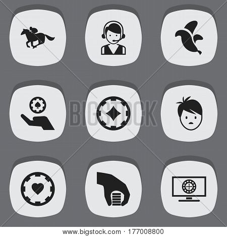 Set Of 9 Editable Game Icons. Includes Symbols Such As Bet, Ace Of Diamonds, Roulette On Monitor And More. Can Be Used For Web, Mobile, UI And Infographic Design.