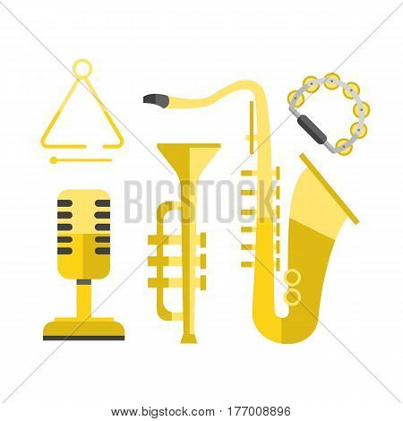 Saxophone gold icon music classical sound instrument vector illustration and brass entertainment golden band design equipment blues musician concert sax. Orchestra play symbol graphic.