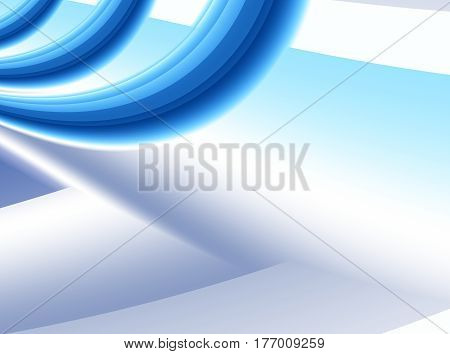Abstract fractal background with 3D spatial effect and curves in shades of blue. For technical business office industrial marketing projects and designs templates layouts pamphlets etc.