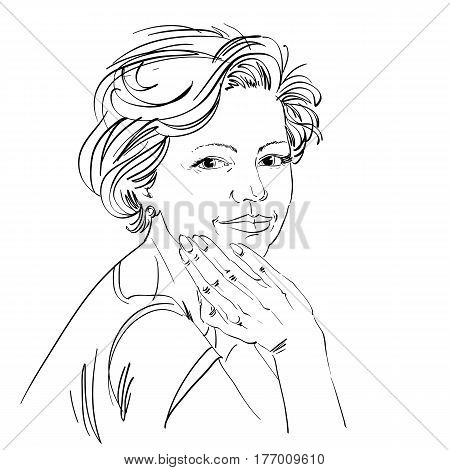 Vector drawing of confident elegant woman with stylish haircut. Black and white portrait of attractive peaceful lady.