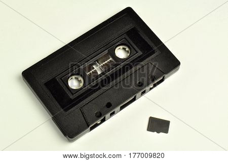 micro sd with a black audio cassette
