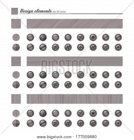 Set of elements for design - buttons and bolts natural material. A vector.