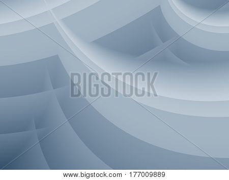 Grey abstract fractal with layered waves or arcs.