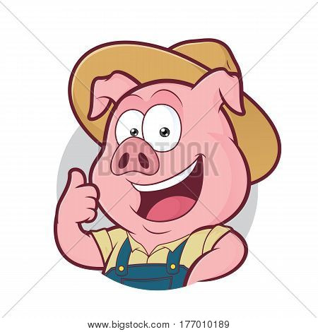 Clipart picture of a pig farmer cartoon character giving thumbs up in round frame