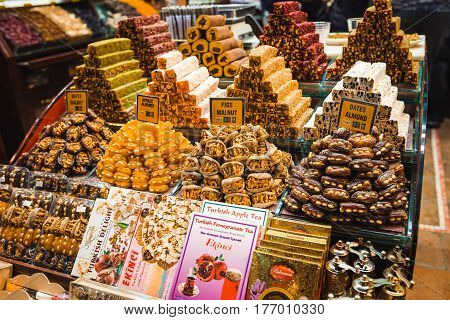 Turkish delight, candy, candy shop Grand Bazaar Istanbul. Sweet food
