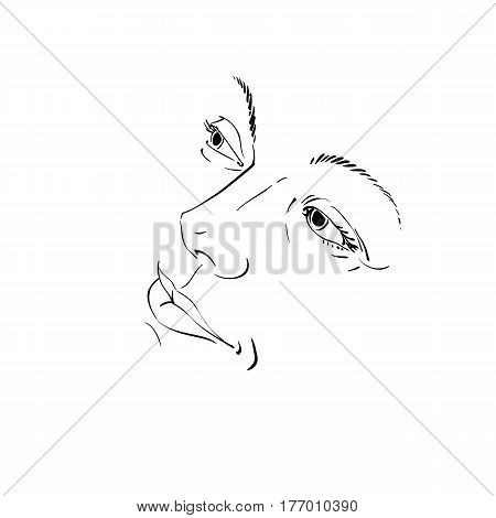 Hand-drawn illustration of woman face black and white mask with emotions. Features of beautiful girl posing for portrait.