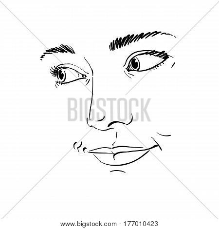 Portrait of delicate good-looking dreamy still woman black and white vector drawing. Emotional expressions idea image face features.
