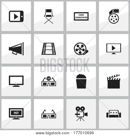 Set Of 16 Editable Cinema Icons. Includes Symbols Such As Tape, Camera Strip, Start Video And More. Can Be Used For Web, Mobile, UI And Infographic Design.