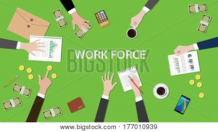 work force concept discussion in a meeting illustration with paperworks, money, coins and folder document on top of table vector