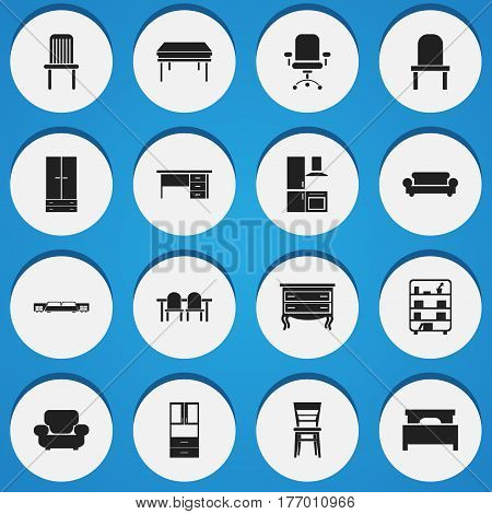 Set Of 16 Editable Furniture Icons. Includes Symbols Such As Restaurant Table, Stillage, Mattress And More. Can Be Used For Web, Mobile, UI And Infographic Design.