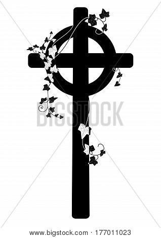 vector illustration ofcrucifix and ivy in black and white