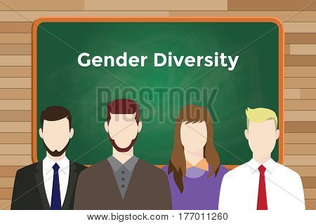 gender diversity white text illustration with four people standing in front of green chalk board vector