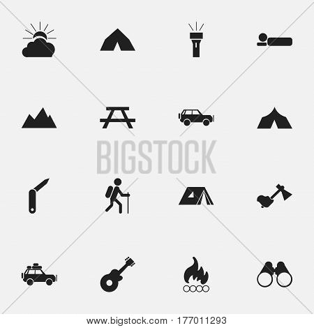 Set Of 16 Editable Trip Icons. Includes Symbols Such As Lantern, Tepee, Musical Instrument And More. Can Be Used For Web, Mobile, UI And Infographic Design.