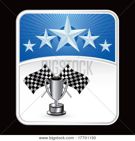 racing checkered flags and trophy on superstar background