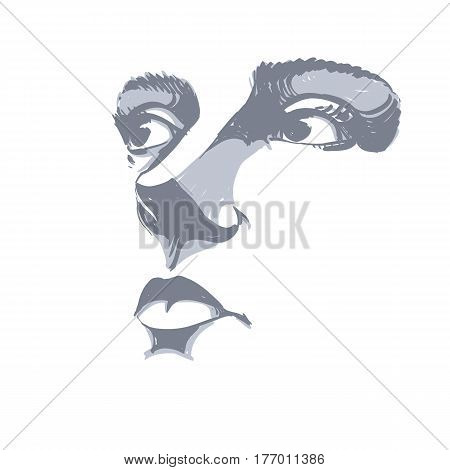 Black and white illustration of lady face delicate visage features. Eyes and lips of peaceful woman expressing positive emotions.