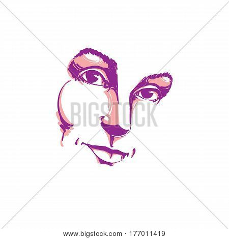 Creative hand-drawn art portrait of white-skin melancholic lady silhouette of woman face. Face emotions theme illustration. Beautiful girl posing on white background outline.