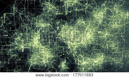 Light Green Lines Drawn By Bright Spots Eventually Create An Abstract Image Of A Circuit Board.