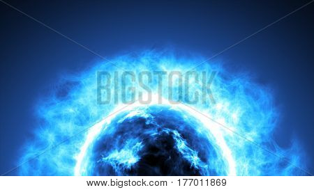 Futuristic Abstract Blue Sun In Space With Flares. Great Futuristic Background