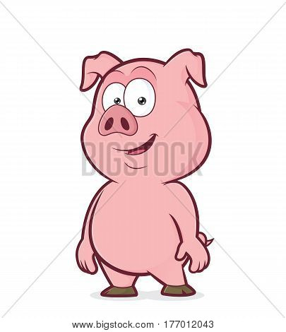 Clipart picture of a pig standing cartoon character
